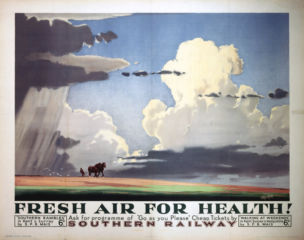 "Fresh Air for Health - Southern Railway 24"" x 32"" Matte Mounted Print"