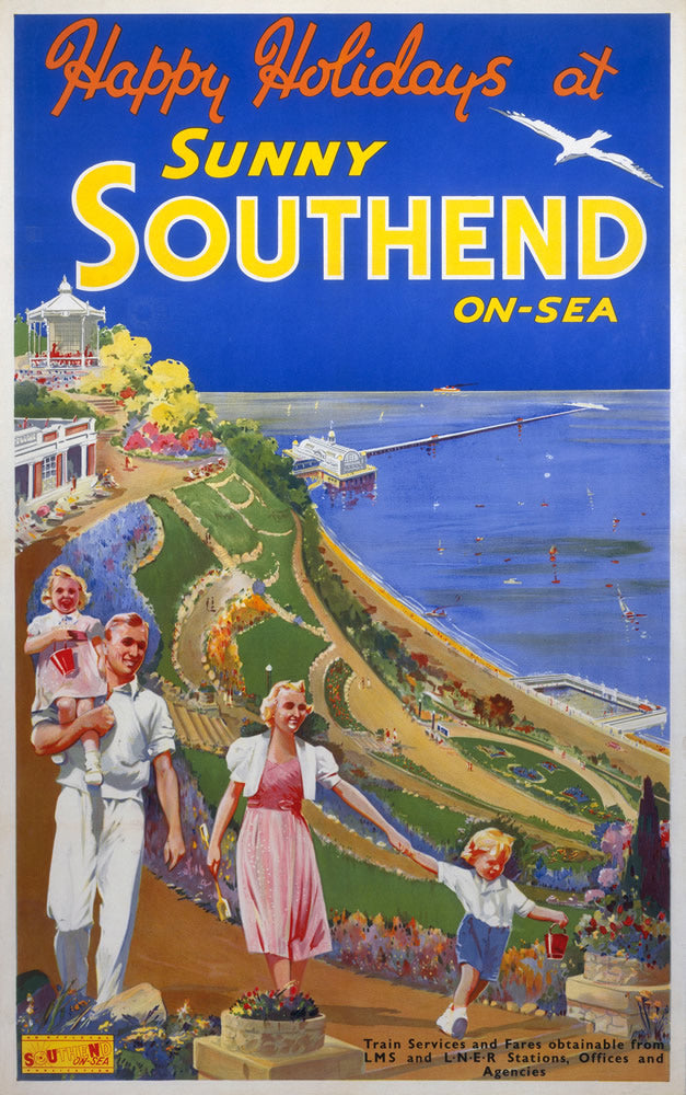 "Sunny Southend on Sea 24"" x 32"" Matte Mounted Print"