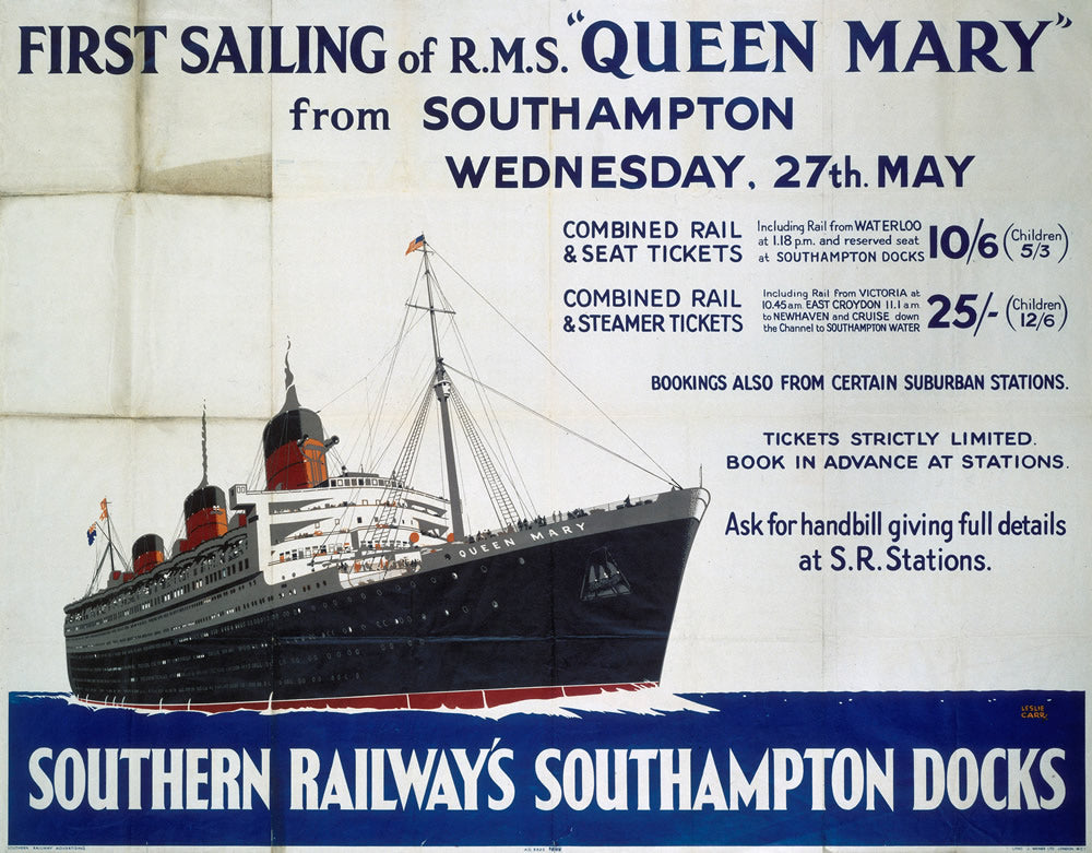 "Southampton Southern Railway Queen Mary 24"" x 32"" Matte Mounted Print"