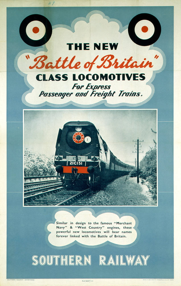 "Battle of Britain Locomotives - Southern Railway 24"" x 32"" Matte Mounted Print"