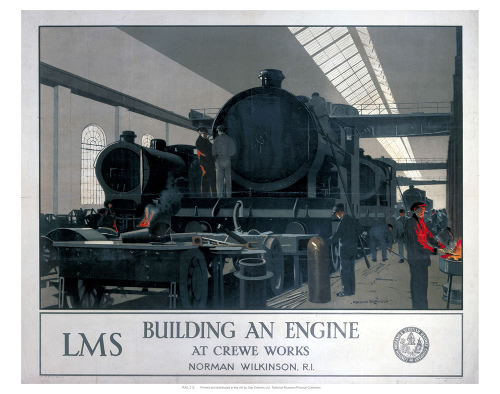 "Building an Engine 24"" x 32"" Matte Mounted Print"