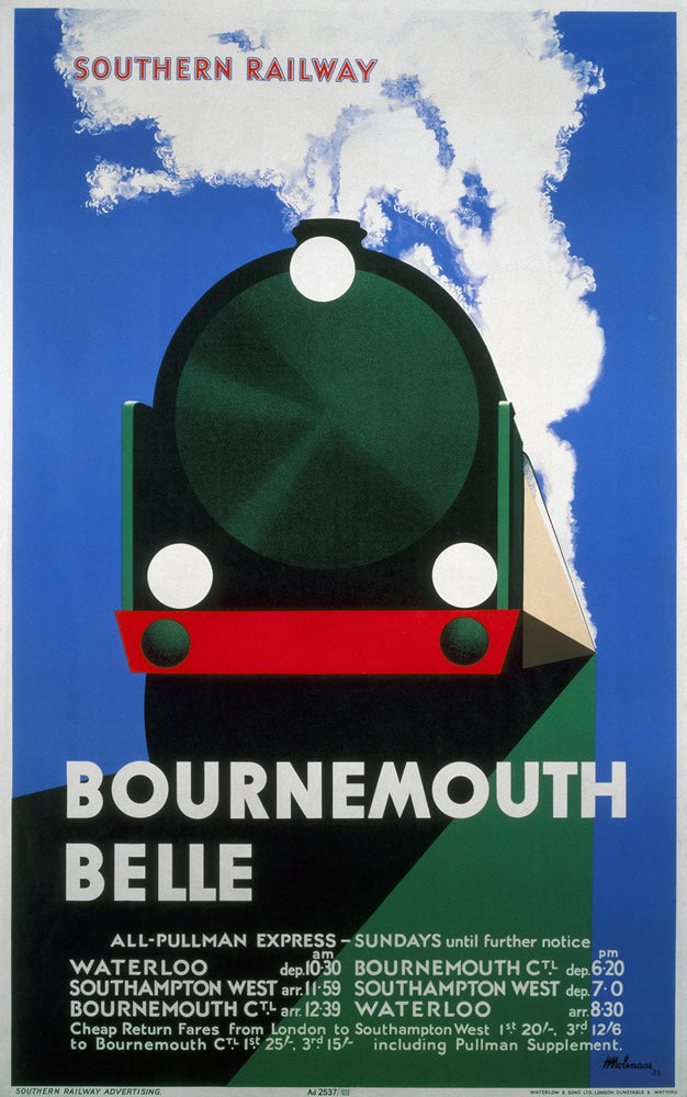 "Bournemouth Belle - Southern Railway 24"" x 32"" Matte Mounted Print"