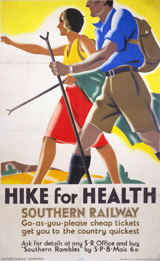 "Hike for health Southern Railway 24"" x 32"" Matte Mounted Print"