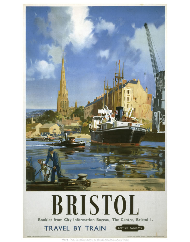 "Bristol Boat and Crane 24"" x 32"" Matte Mounted Print"