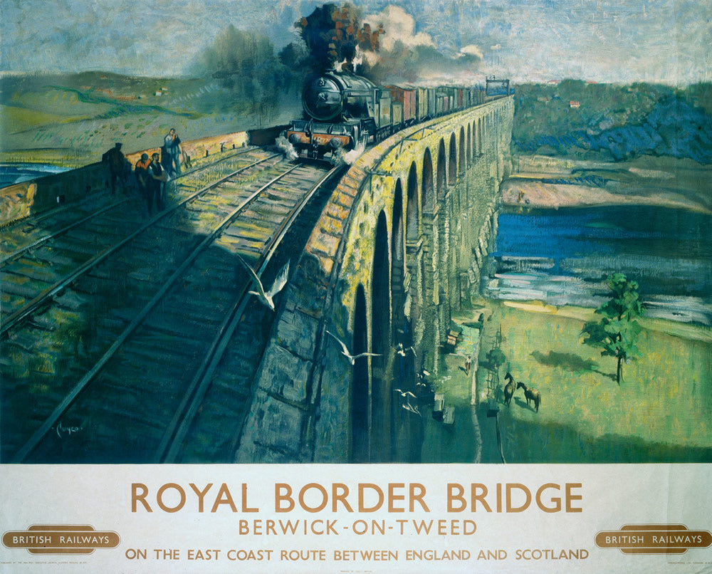 "Royal Border Bridge Berwick on tweed 24"" x 32"" Matte Mounted Print"