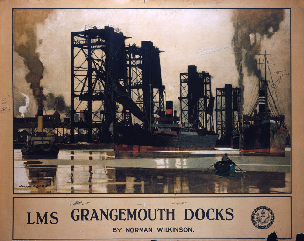 "Grangemouth Docks LMS 24"" x 32"" Matte Mounted Print"