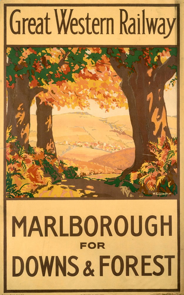 "Malborough for Downs and Forest GWR 24"" x 32"" Matte Mounted Print"