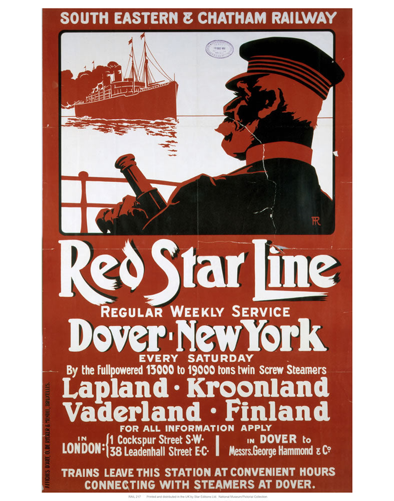 "Red Star Line 24"" x 32"" Matte Mounted Print"