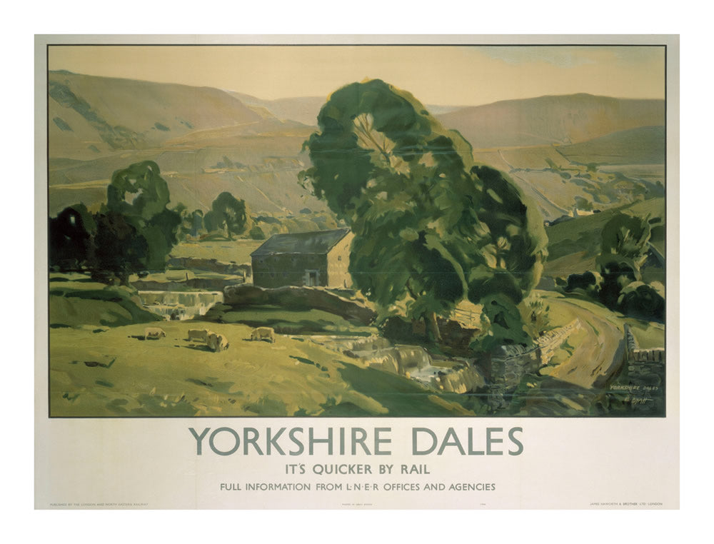 "Yorkshire Dales It's Quicker by Rail 24"" x 32"" Matte Mounted Print"