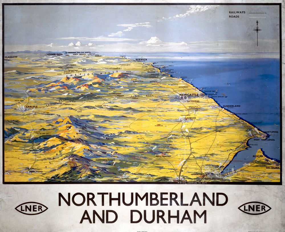 "Northumberland and Durham LNER 24"" x 32"" Matte Mounted Print"