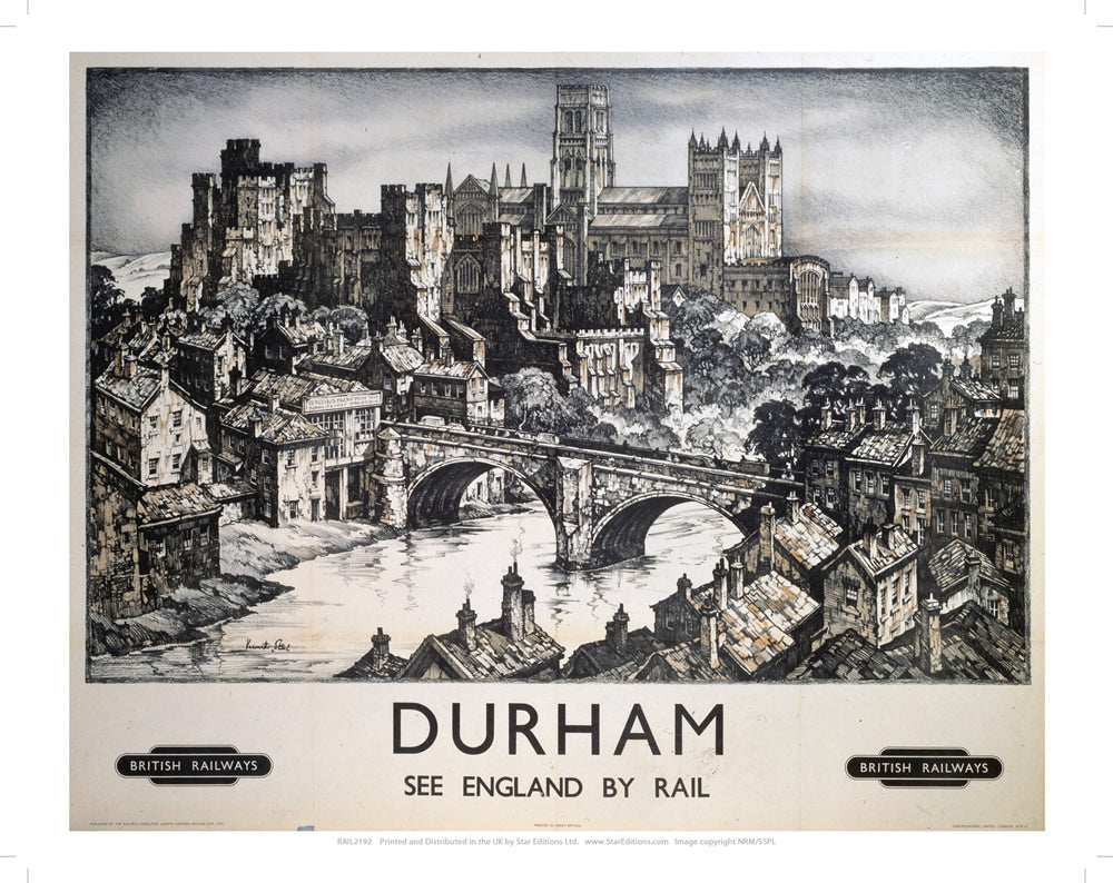 "Durham See England by Rail 24"" x 32"" Matte Mounted Print"