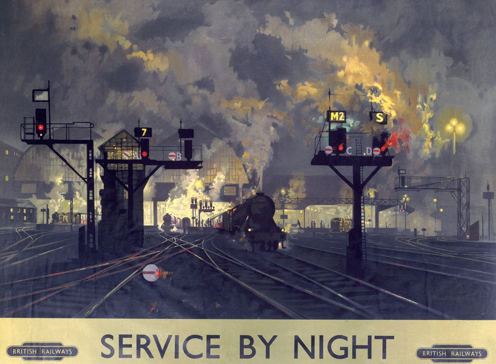 "Service by Night Engine 24"" x 32"" Matte Mounted Print"