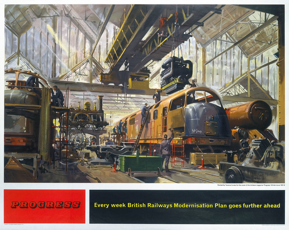 "Progress - Modernisation British Railways 24"" x 32"" Matte Mounted Print"