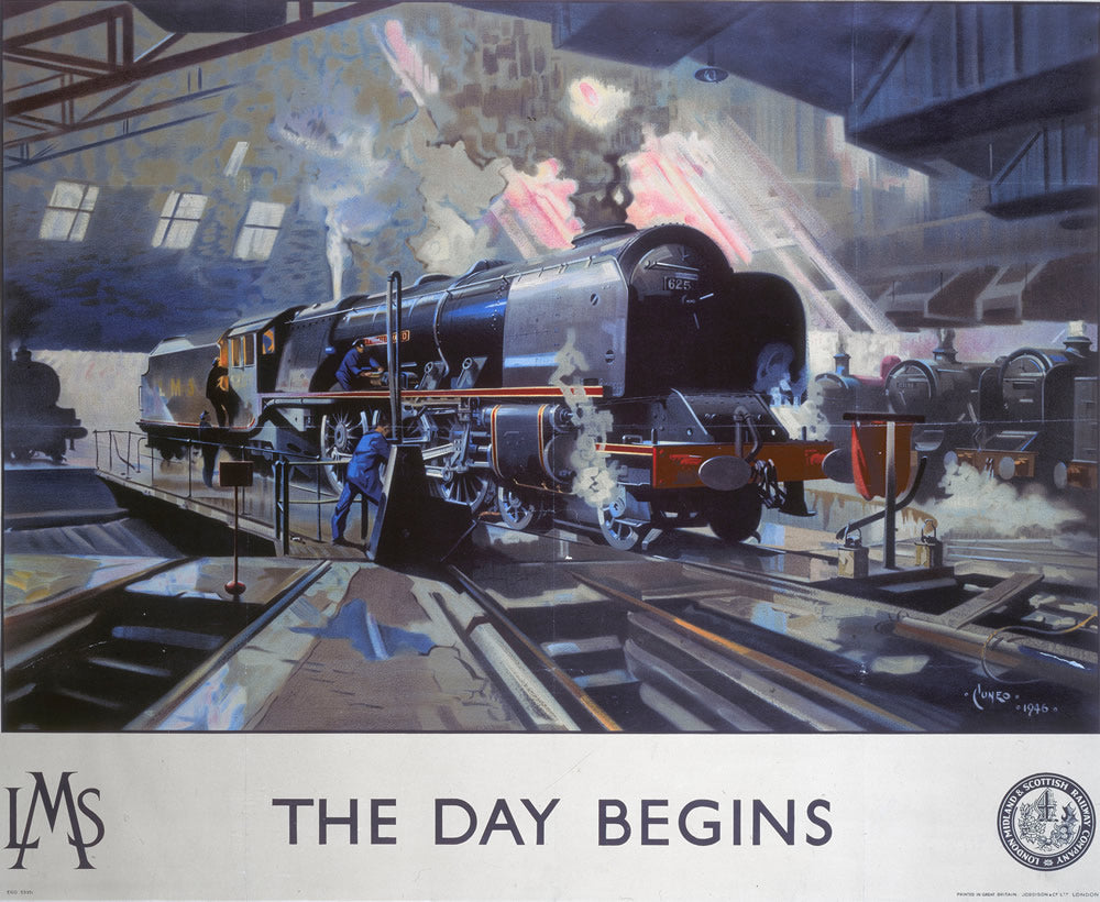 "The Day Begins LMS Engine 24"" x 32"" Matte Mounted Print"