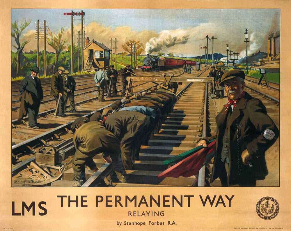"The Permanent Way - Relaying LMS 24"" x 32"" Matte Mounted Print"