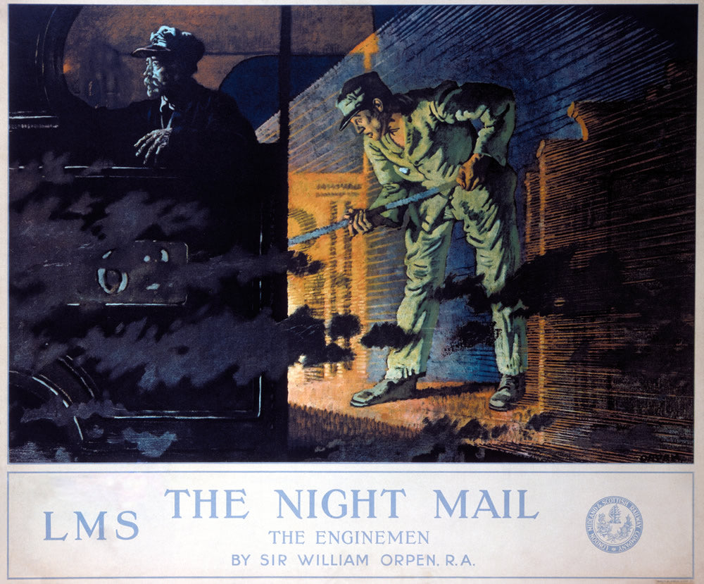 "The Night Mail - The Enginemen LMS 24"" x 32"" Matte Mounted Print"