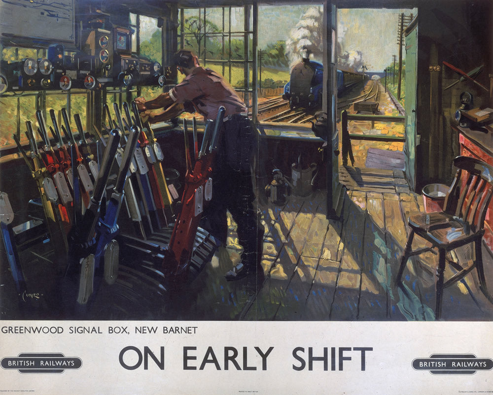 "On Early Shift Greenwood Signal Box New Barnet 24"" x 32"" Matte Mounted Print"