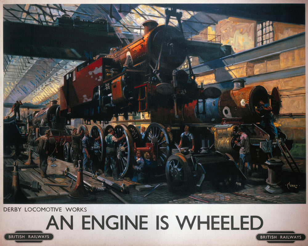 "Derby Locomotive Works - An Engine is Wheeled 24"" x 32"" Matte Mounted Print"