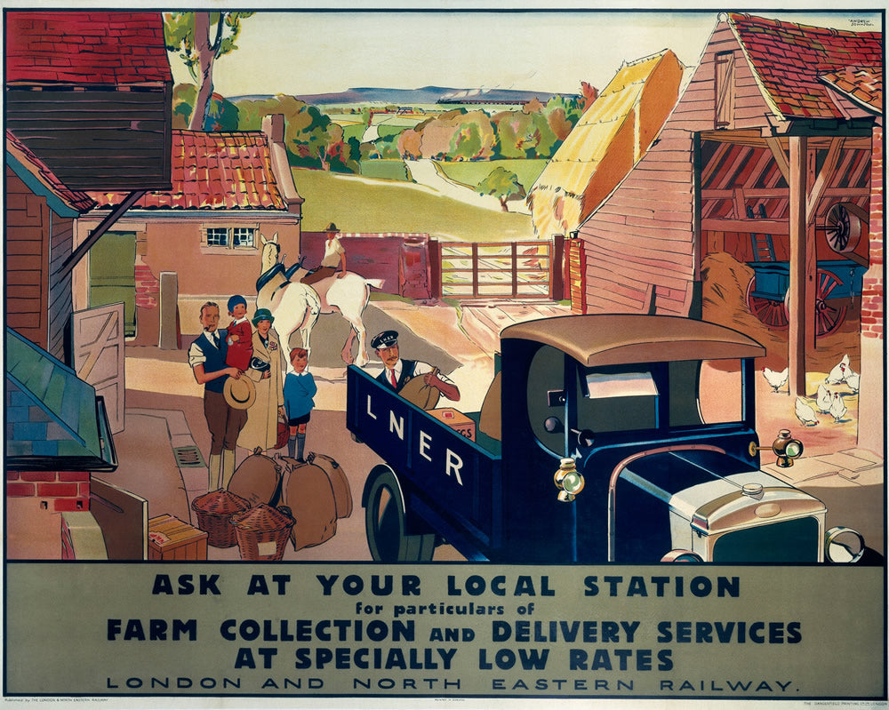 "LNER Farm Collection and Delivery 24"" x 32"" Matte Mounted Print"