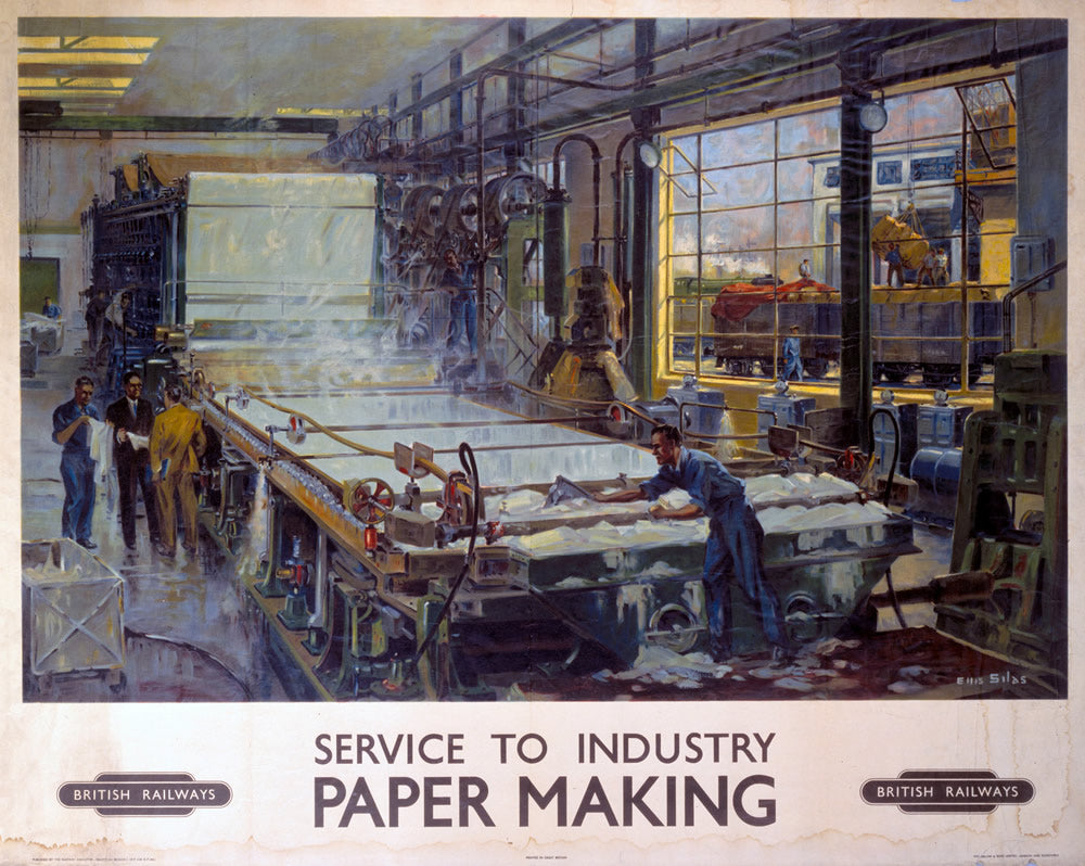 "Service to Industry PAPER MAKING 24"" x 32"" Matte Mounted Print"