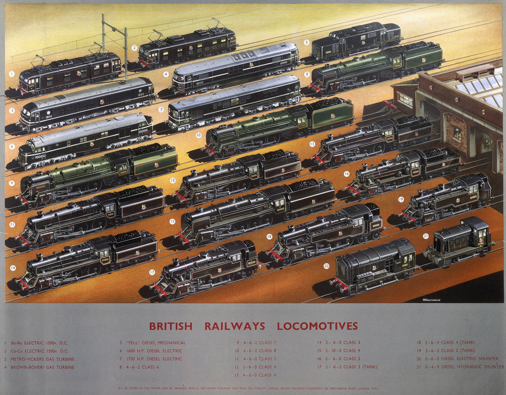 "British railways Locomotives 24"" x 32"" Matte Mounted Print"