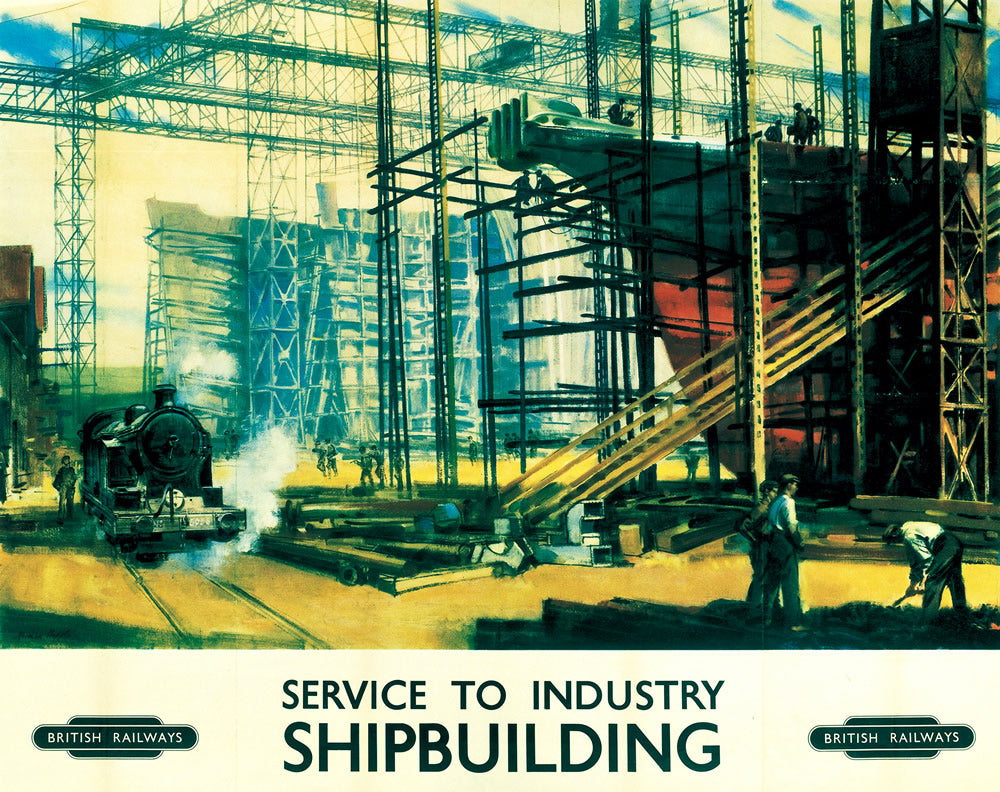 "Service to Industry - SHIPBUILDING 24"" x 32"" Matte Mounted Print"
