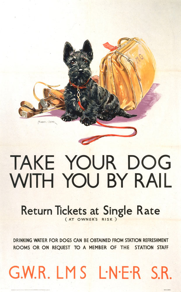 "Take your Dog with you by Rail 24"" x 32"" Matte Mounted Print"