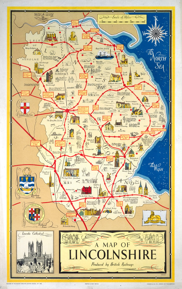 "A Map of Lincolnshire - Lincoln Cathedral 24"" x 32"" Matte Mounted Print"