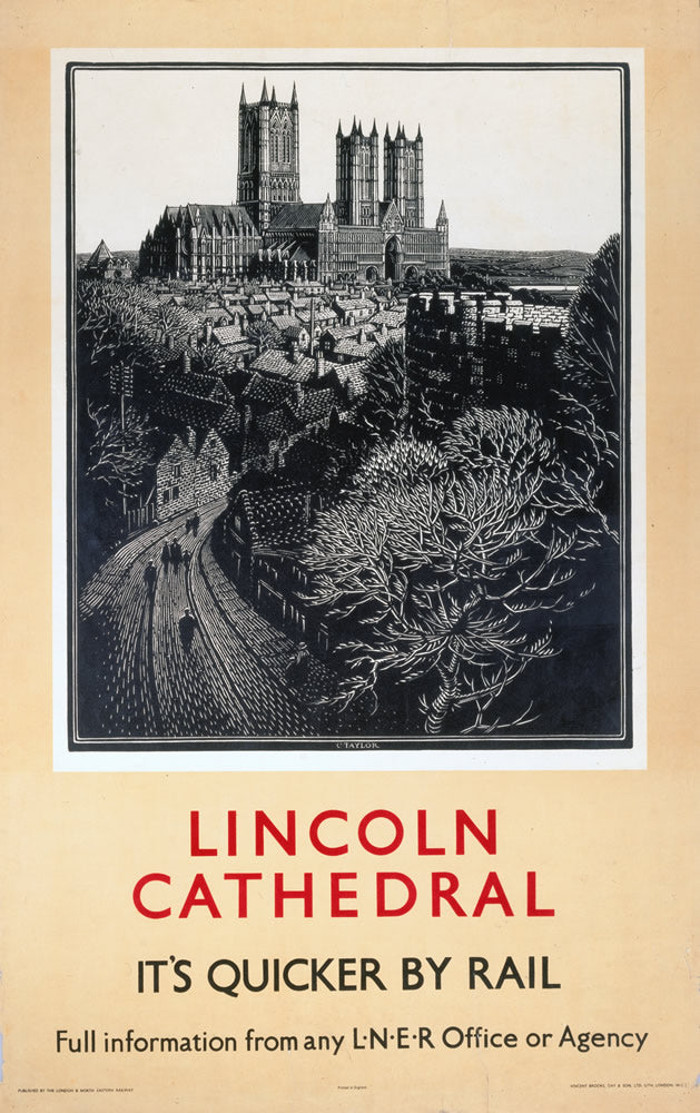 "Lincoln Cathedral It's Quicker By Rail 24"" x 32"" Matte Mounted Print"