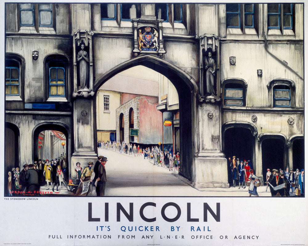 "Lincoln It's Quicker By Rail 24"" x 32"" Matte Mounted Print"