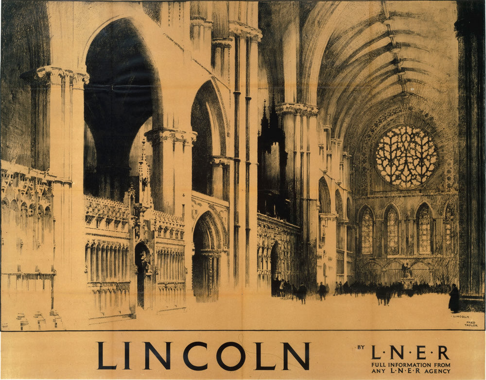 "Lincoln LNER It's Quicker By Rail 24"" x 32"" Matte Mounted Print"