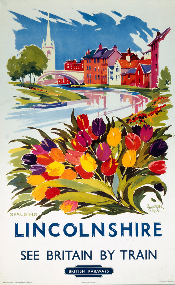 "Lincolnshire See Britain by Train 24"" x 32"" Matte Mounted Print"
