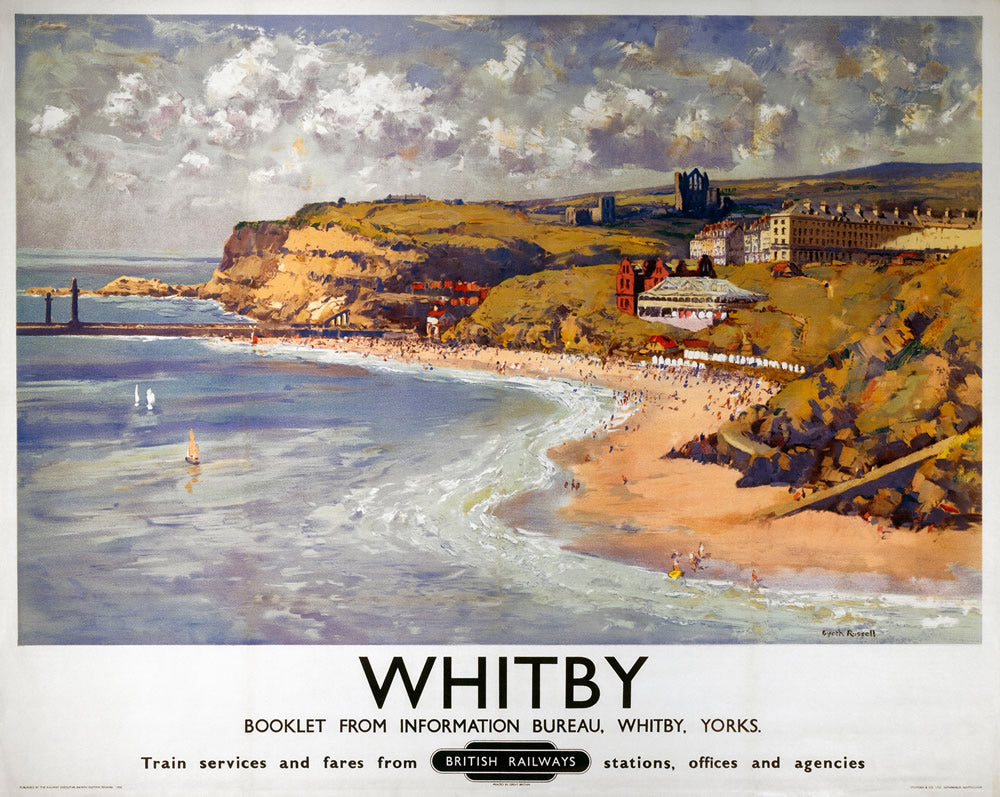 "Whitby Yorkshire British Railways 24"" x 32"" Matte Mounted Print"