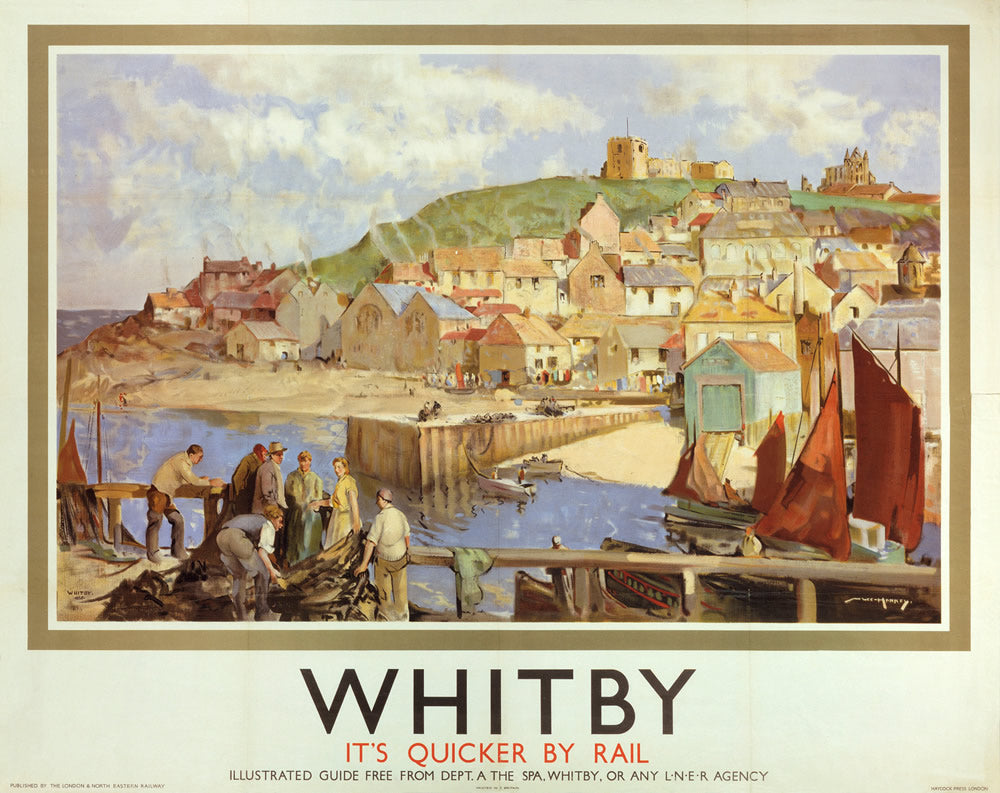 "Whitby It's Quicker By Rail 24"" x 32"" Matte Mounted Print"