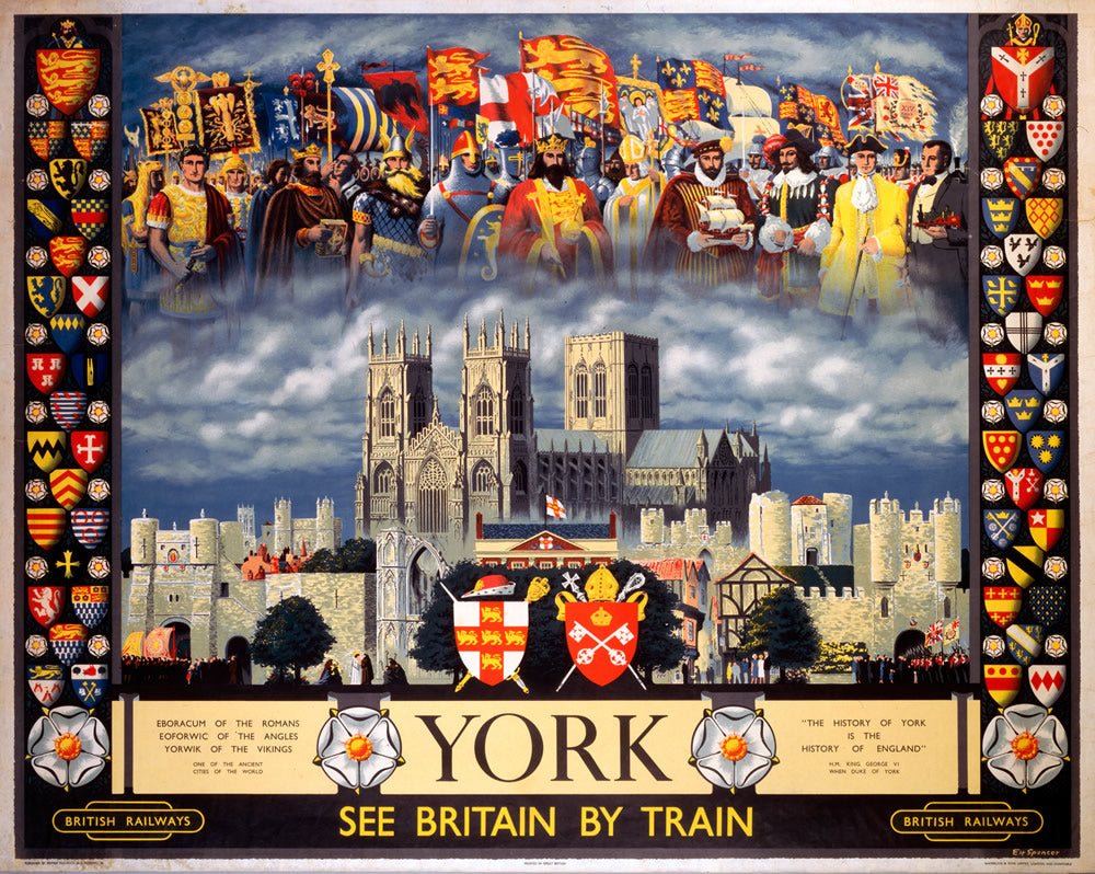"York See Britain by Train 24"" x 32"" Matte Mounted Print"