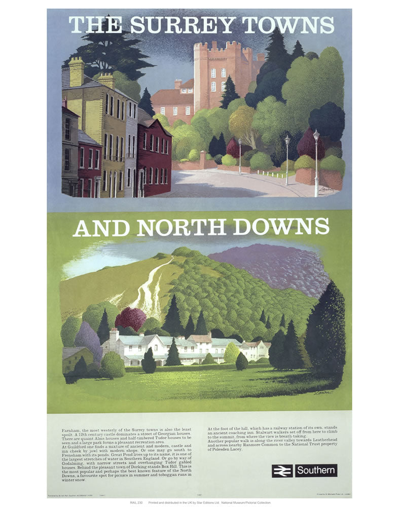 "The Surrey Towns and North Downs 24"" x 32"" Matte Mounted Print"