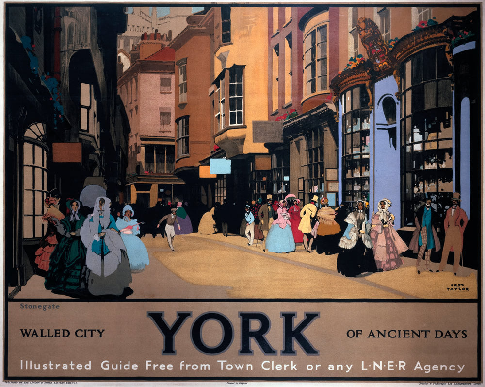 "Walled City York of Ancient Days LNER 24"" x 32"" Matte Mounted Print"