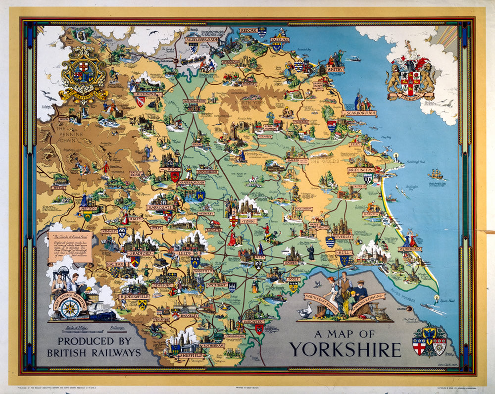 "A Map of Yorkshire British Railways 24"" x 32"" Matte Mounted Print"