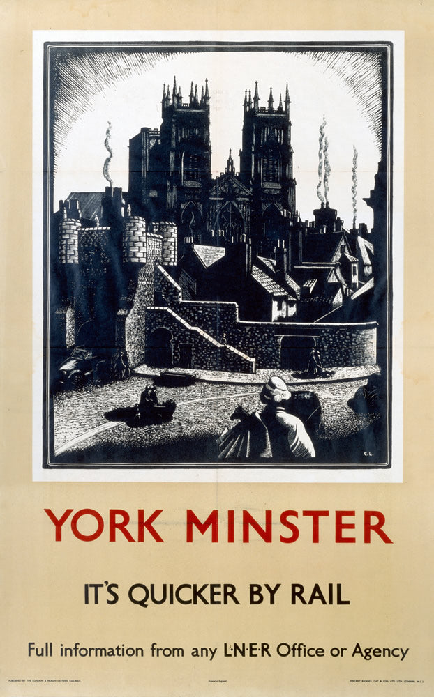 "York Minster It's Quicker By Rail 24"" x 32"" Matte Mounted Print"