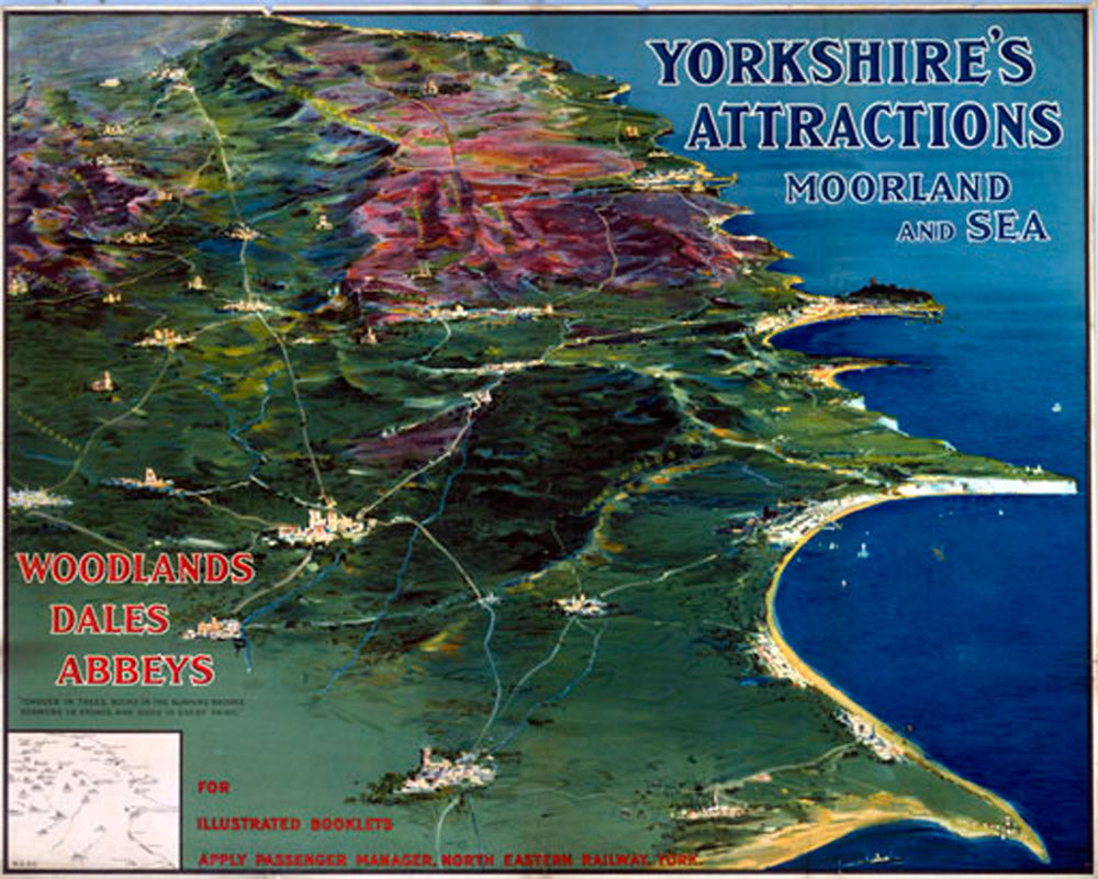 "Yorkshire's Attractions Moorland and Sea 24"" x 32"" Matte Mounted Print"