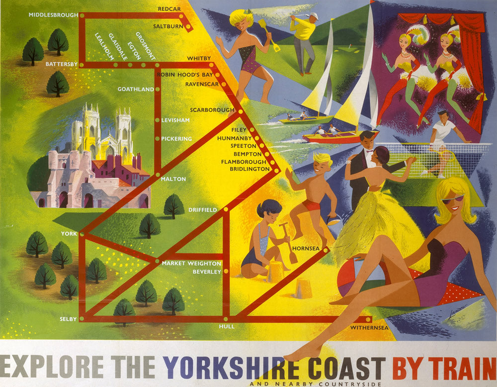 "Explore the Yorkshire Coast by train 24"" x 32"" Matte Mounted Print"