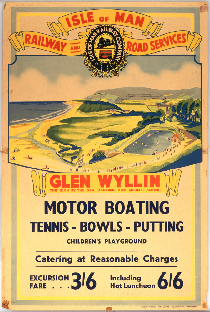 "Isle of Man Glen Wyllin Motor Boating 24"" x 32"" Matte Mounted Print"