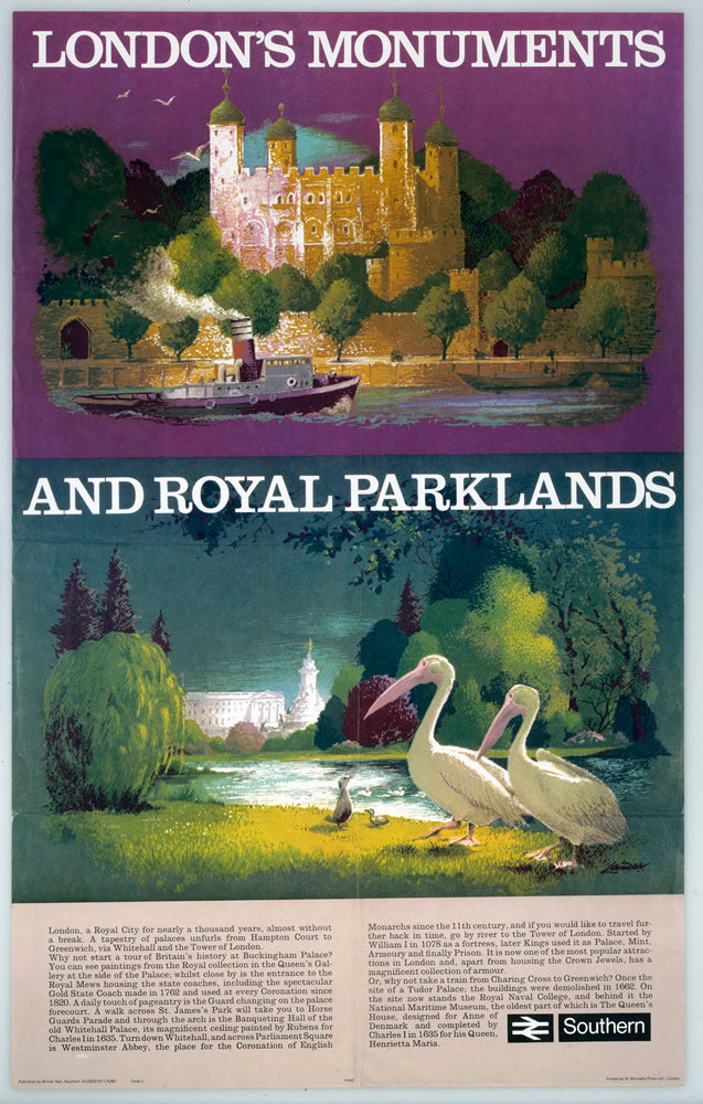 "London's Monuments and Royal Parklands 24"" x 32"" Matte Mounted Print"