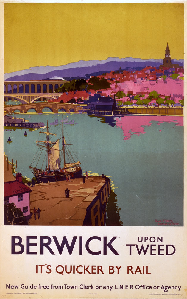 "Berwick upon Tweed It's Quicker By Rail 24"" x 32"" Matte Mounted Print"