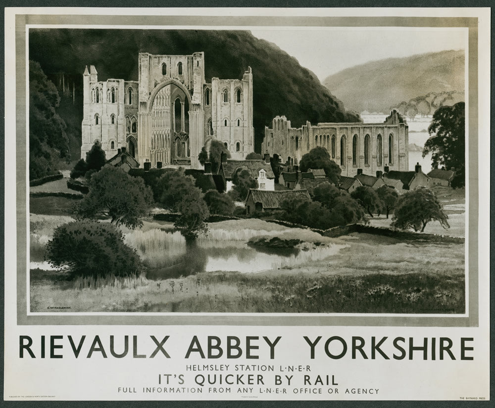"Rievaulx Abbey Helmsley Station LNER Yorkshire 24"" x 32"" Matte Mounted Print"