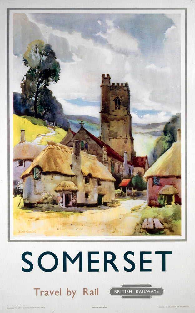 "Somerset travel by Rail 24"" x 32"" Matte Mounted Print"