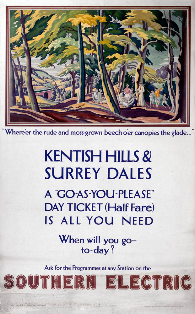"Kentish Hills and Surrey Dales Southern Electric 24"" x 32"" Matte Mounted Print"