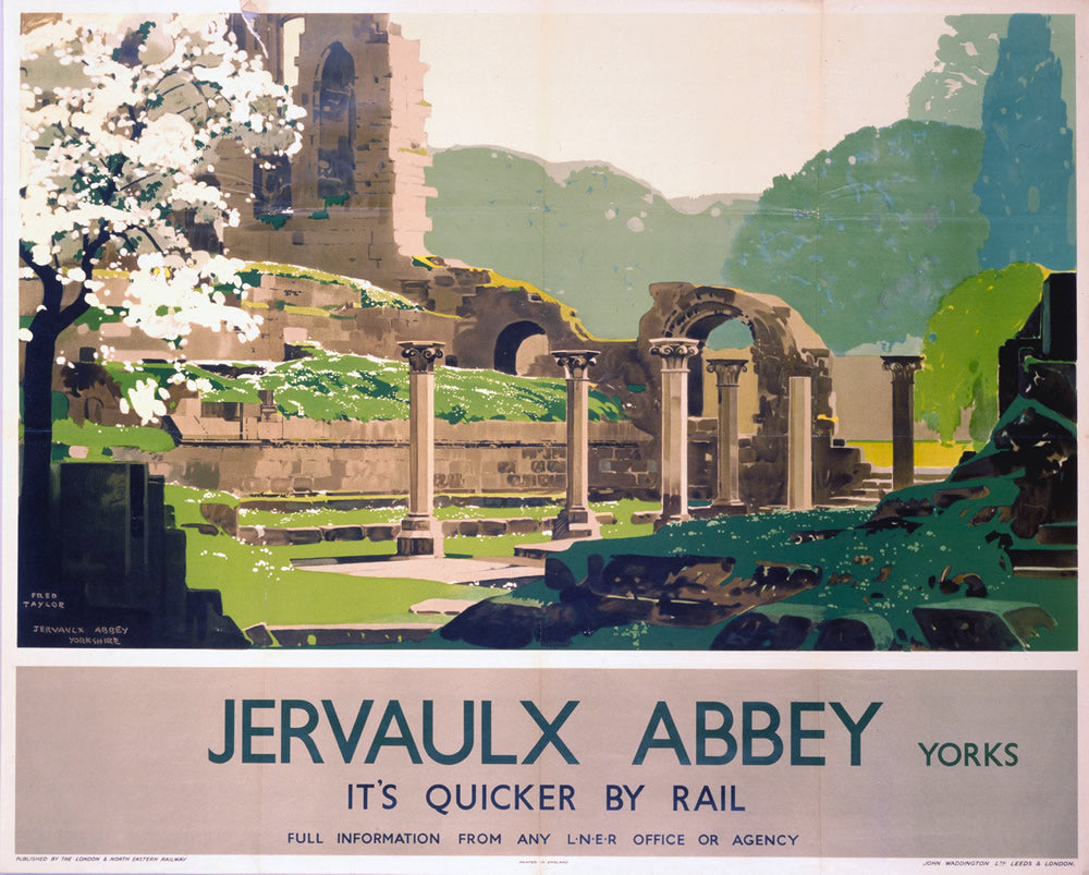 "Jervaulx Abbey Yorkshire LNER 24"" x 32"" Matte Mounted Print"