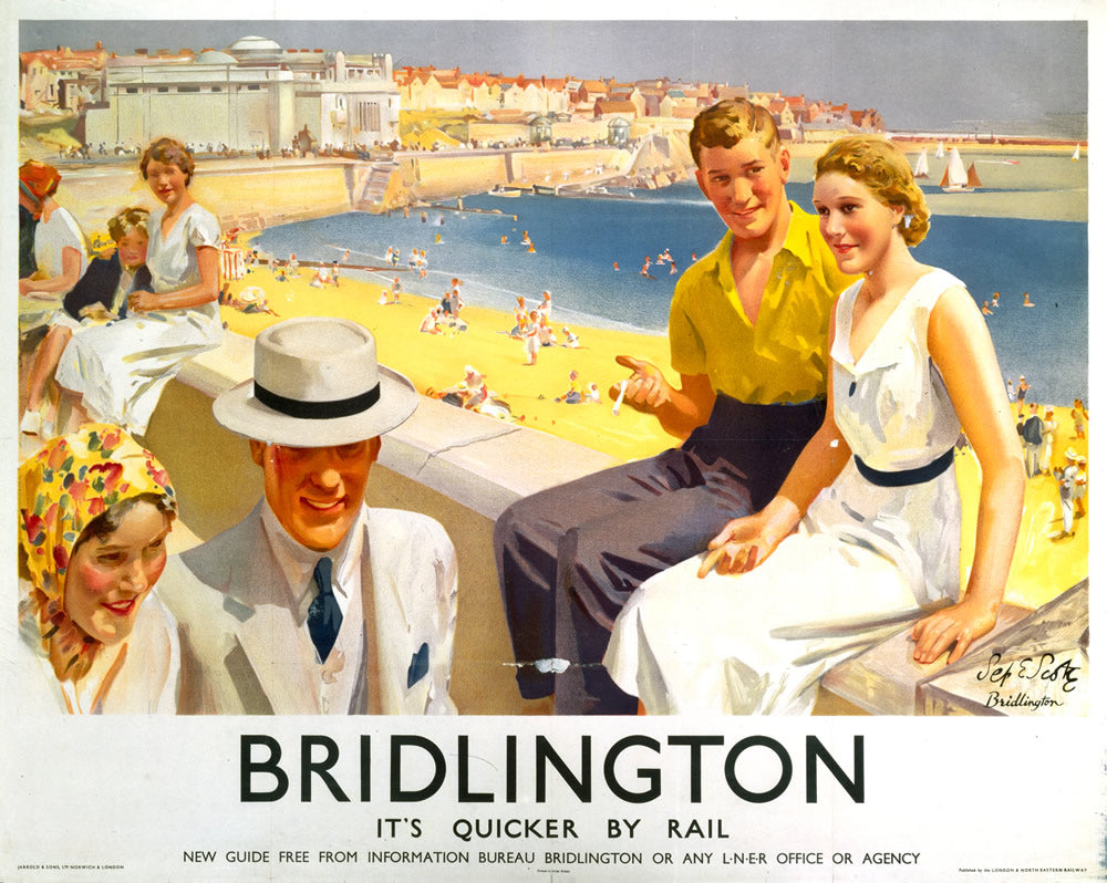 "Bridlington It's Quicker By Rail 24"" x 32"" Matte Mounted Print"