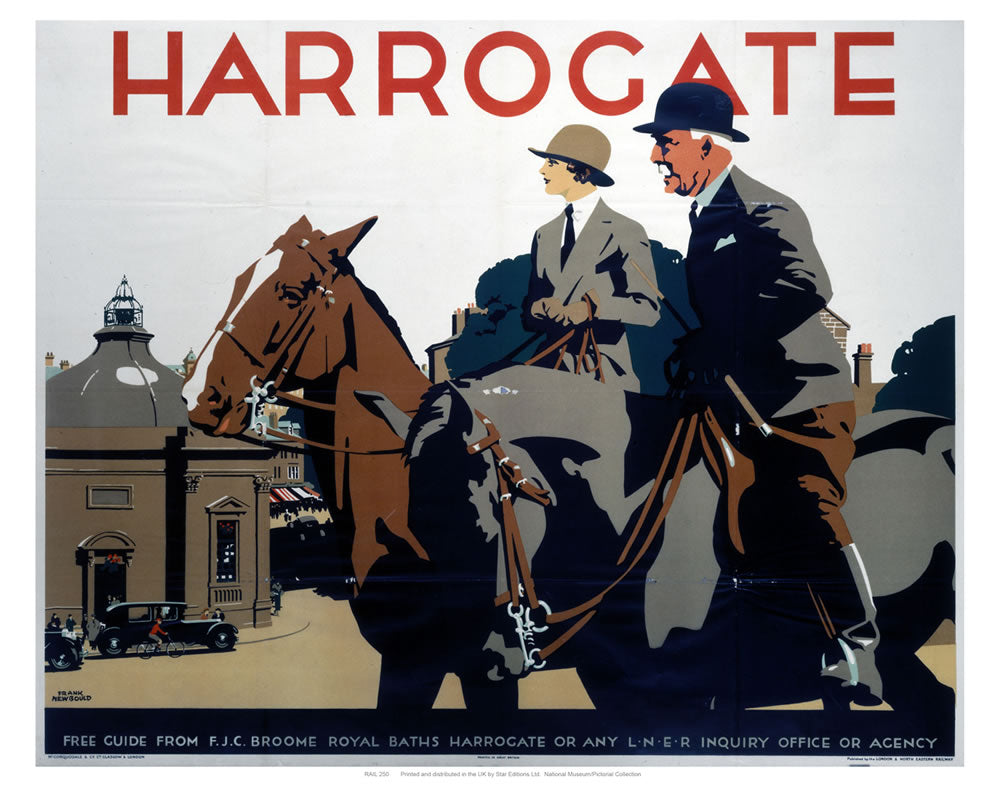 "Harrogate Couple on Horses 24"" x 32"" Matte Mounted Print"